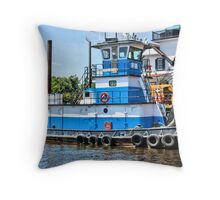 Little Blue Tugboat Throw Pillow