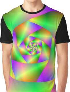 Spiral in Green Yellow and Pink Graphic T-Shirt