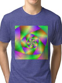 Spiral in Green Yellow and Pink Tri-blend T-Shirt