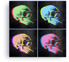 Van Gogh Skull with burning cigarette remixed set of 4 Canvas Print