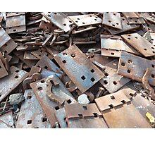 Rusty iron rail parts Photographic Print