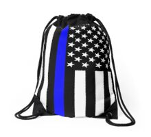 The Symbolic Thin Blue Line on US Flag Drawstring Bag