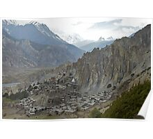 Bragha, 3470m, a traditional Tibetan style village and Gompa, Manang District, Nepal Poster