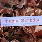 Happy Birthday on Autumn Leaves by Rosebuds