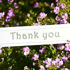Thank You - on flowers by Rosebuds