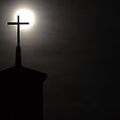 Full Moon Behind Cross by SRLongstroth