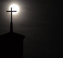 Full Moon Behind Cross by SRLongstroth