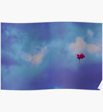 Pink balloons on a blue sky Poster