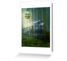 MR MOON AND GHOST TRAIN Greeting Card