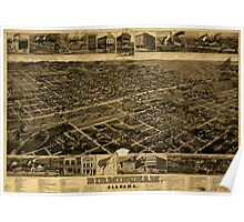 Panoramic Maps Birmingham Alabama Poster