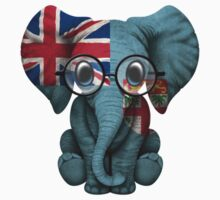 Baby Elephant with Glasses and Fiji Flag Baby Tee