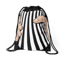 Big Hand Squeezing Referee Style Stripes Drawstring Bag