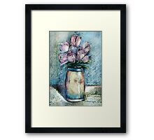 Vase Of Pink Tulips Framed Print