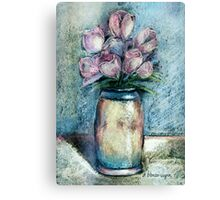 Vase Of Pink Tulips Canvas Print