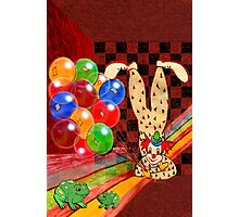 PARTY CLOWN AND FROGS Photographic Print