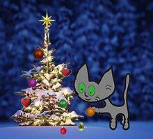 Kitten Sets Up Christmas Tree by JohnsCatzz