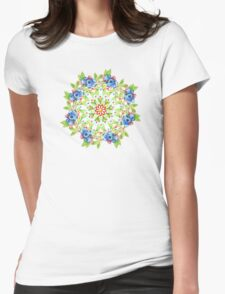 Maine Blueberry Gingham Mandala Womens Fitted T-Shirt