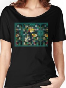 Abstract Squares Triptych Gentle Green Women's Relaxed Fit T-Shirt