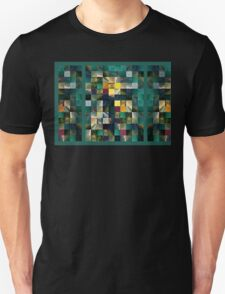 Abstract Squares Triptych Gentle Green Unisex T-Shirt
