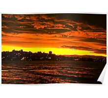 Winter's Evening Sunset, Sydney Harbour Poster