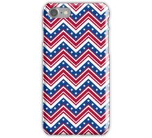 Red White and Blue Zigzag Stripes with Stars iPhone Case/Skin