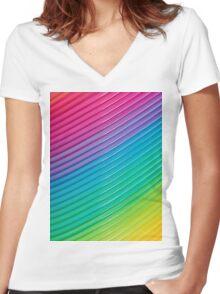 Rainbow Slinky 6 Women's Fitted V-Neck T-Shirt