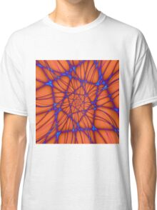 Blue Line Spiral on Orange Classic T-Shirt