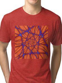 Blue Line Spiral on Orange Tri-blend T-Shirt