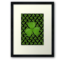 Irish Shamrocks on Black Framed Print