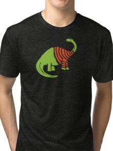 Brontosaurus in a Sweater  Tri-blend T-Shirt
