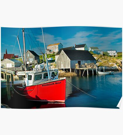 Harbour Mist in Peggy's Cove Poster