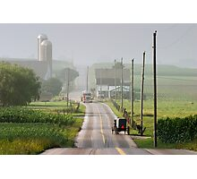 Amish Buggy confronts the Modern World Photographic Print