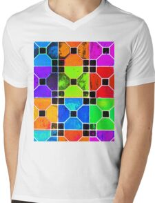COLOUR TILED Mens V-Neck T-Shirt