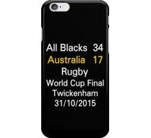All Blacks / New Zealand 34-17 Australia rugby world cup final iPhone Case/Skin