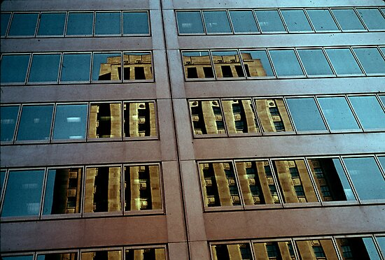 Urban Building Window Reflection by Randall Nyhof