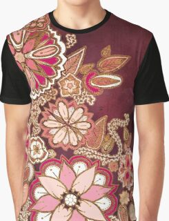 Golden Embroidery Flowers Graphic T-Shirt
