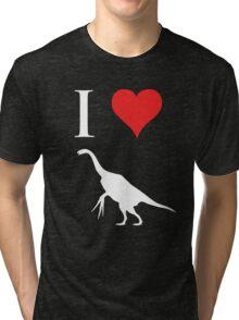 I Love Dinosaurs - Therizinosaurus (white design) Tri-blend T-Shirt