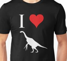 I Love Dinosaurs - Therizinosaurus (white design) Unisex T-Shirt