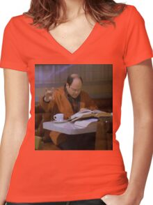 obligatory seinfeld slay the party shirt Women's Fitted V-Neck T-Shirt
