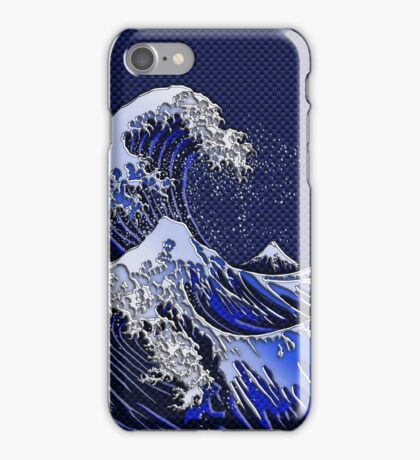 The Great Hokusai Wave chrome carbon fiber styles iPhone Case/Skin