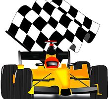 Yellow Race Car with Checkered Flag by Gravityx9