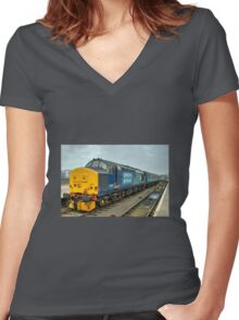 Yarmouth Tractor  Women's Fitted V-Neck T-Shirt