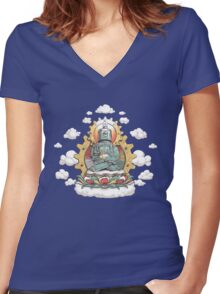 """Mr. Ohmz"" the Buddha Bot v6 Women's Fitted V-Neck T-Shirt"