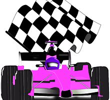 Pink Race Car with Checkered Flag by Gravityx9