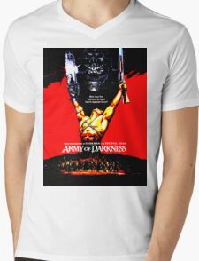 Army Of Darkness 80's Red and Black Design Mens V-Neck T-Shirt