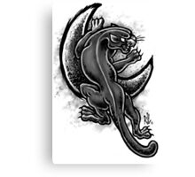 Black and White Moon Panther Canvas Print