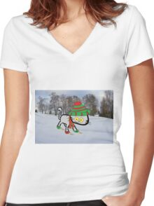 This Cat Loves Winter Women's Fitted V-Neck T-Shirt