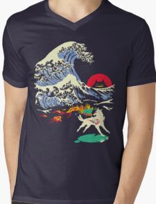 The Great Wave off Oni Island Mens V-Neck T-Shirt