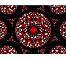 Symmetric Red and Black Flowers Photographic Print