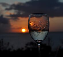 Sunset through wine glass by Kerry  Cook